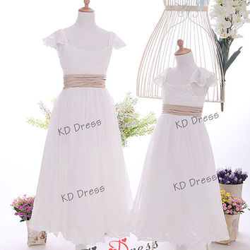 ON SALE !!! Cap Sleeves Ivory Lace Flower Girl Dress Children Birthday Party Dress Kids Dress with Champagne Sash(Z1033)