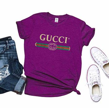 """Gucci"" Trending Women Men Stylish T-Shirt Top For Purple I/A"