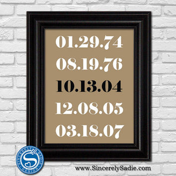 Special Date Print - Subway Print - Anniversary Gift - Wedding Gift - Important Dates Print