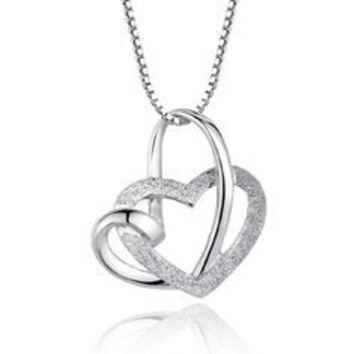 Sterling Silver Linked Hearts Pendant Necklace