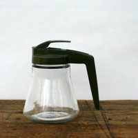 Green Androck Clear Glass Syrup Dispenser Pitcher - Vintage Retro Glass Pitcher - Androck USA