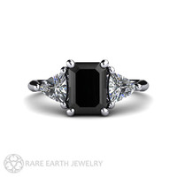 Black Diamond Engagement Ring Vintage Black Diamond Ring 3 Stone with Trillion Diamonds in Platinum