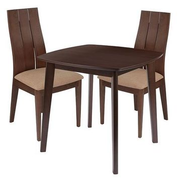 Barrington 3 Piece Walnut Wood Dining Table Set with Wide Slat Back Wood Dining Chairs - Padded Seats