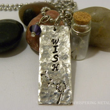 Wish necklace silver hand stamped distressed with glass bottle jar and dandelion fluff purple