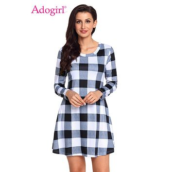 Adogirl High Quality Black White Plaid Mini Dress Women Autumn Winter O Neck Long Sleeve Pockets Fashion Casual Dresses Vestidos