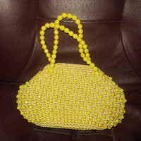 mid century hand crochet yellow beaded  with  metal frame center purse