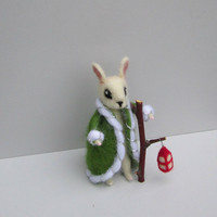 Santa Christmas ornament Felted Bunny Christmas lantern White rabbit Xmas ornament Winter home decor Soft sculpture Wool Animal Art doll