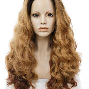 Long Bronze Brown Ombre Wave Synthetic Lace Front Wig