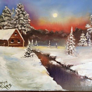 Original oil painting Beyond Winter River pallet knife technic landscape painting wrapped canvas Christmas gift 11x14 stretched canvas oil