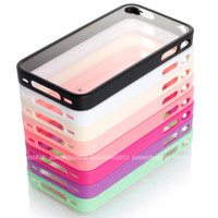 simple design CLEAR HARD CASE SOFT TPU COVER SKIN BUMPER FOR APPLE iPHONE 4 4s