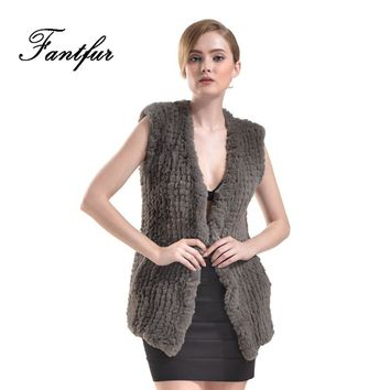 FANTFUR 2017 New Knitted Faux Rex Rabbit Fur Vest For Women Fake Rabbit Fur Sleeveless Sweater Winter Fashion Fur Gilet Outwear