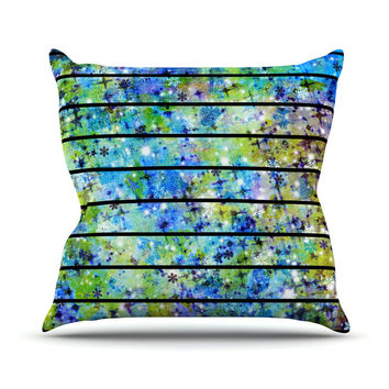 "Ebi Emporium ""Stripes & Snowflakes"" Blue Green Throw Pillow"