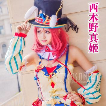 COSPLAYONSEN Love Live!  Circus Ver. After awakening Dress  Nishikino Maki Cosplay Costume All Sizes With Hat