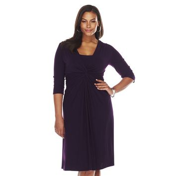 Chaps Ruched Knot-Front Dress - Women's Plus Size, Size: