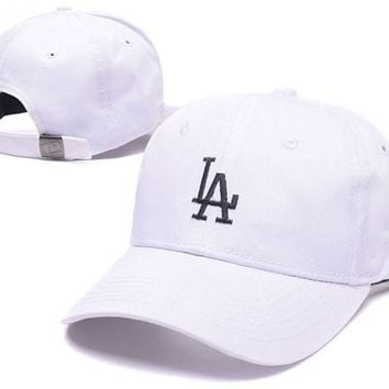 PEAPDQ7 White LA Embroidered Adjustable Baseball Cap Hats