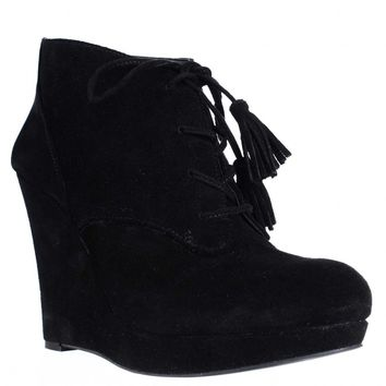 Jessica Simpson Cyntia Wedge Tassel Tie Ankle Booties, Black, 9 US / 39 EU