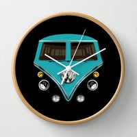 Sale for charity! Blue teal VW volkswagen mini van bus kombi camper iphone 4 4s 5 & galaxy s4 case Wall Clock by Three Second