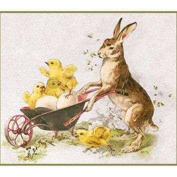 Vintage Easter Bunny with Baby Chicks in a Wheelbarrow Counted Cross Stitch or Counted Needlepoint Pattern