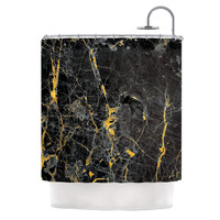 "KESS Original ""Gold Fleck Black Marble"" Digital Abstract Shower Curtain"