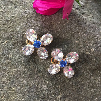 Vintage Goldtone Crystal Flower Earrings with Royal Colbalt blue Centers Clip Ons