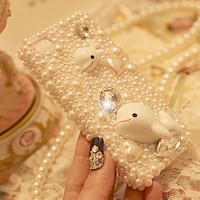 cute whales pearl rhinestone case for iphone 4/4s