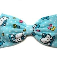 Baby Blue Flannel Hello Kitty Hair Bow (Headband)