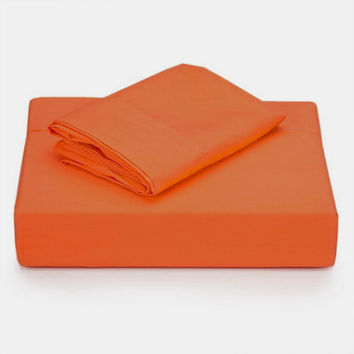 Coral Solid Orange Twin-Single Bedding Sheet Set