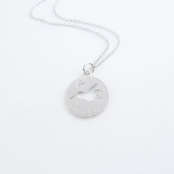 Dainty bird necklace in white gold | Charm necklace, Cubic zirconia pendant, Tiny necklace