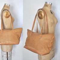LARGE Brown Leather Purse /  Weekender tote / Overnight bag