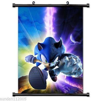 Sell Like Hot Cakes Sonic The Hedgehog Game Fabric Wall Scroll Poster