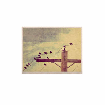 """Sylvia Coomes """"Vintage Birds On A Wire 2 """" Yellow Digital KESS Naturals Canvas (Frame not Included)"""