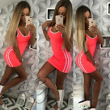Package Summer Hip Dress Women Solid Knitted Sexy Dress Casual O-neck Sleeveless Bodycon Dress Women Plus Size Vestidos designer clothes