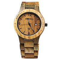 Wooden Band Watch Men Quartz Bewell Brown Oak Stain