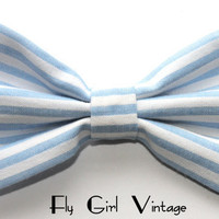 Vintage 1920s Style Hair Bow Clip Blue and White by FlyGirlVintage