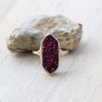 Long Hexagon Ring - Aubergine
