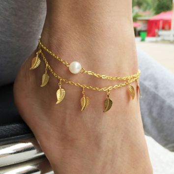 Leave Tassel Double-Layered Anklet