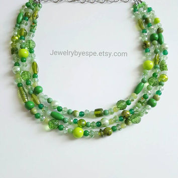 Green Crystal Statement Necklace, Chunky Bib Necklace, Beaded Pearl Necklace, Chunky Bib Layered Statement Necklace