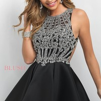 Open-Back High-Neck Fit-and-Flare Homecoming Dress