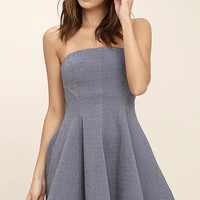 Little Lover Heather Blue Strapless Skater Dress
