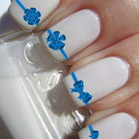 Blue Bow Nail decal Tattoos