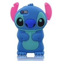 LliVEER Blue/pink Iphone 5 C New 3d Cartoon Stitch Movable Ear Soft Silicone Rubber Case Protective Cover for Iphone 5c