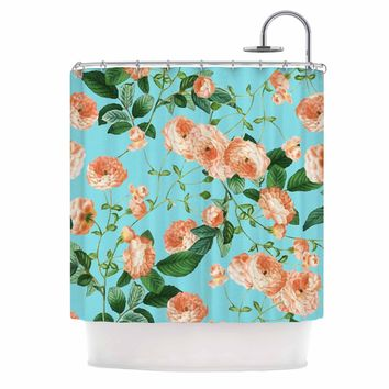 "83 Oranges ""Rosy Life"" Coral Teal Mixed Media Shower Curtain"