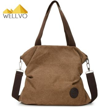 Wellvo 2017 Women Canvas Handbags Large Tote Bag Messenger Crossbody Solid Color Casual Daily Bags Street Shoulder Bags XA2169C
