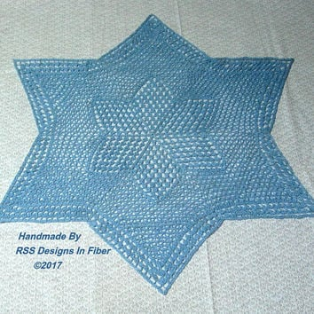 Blue Star Lace Centerpiece - Large 6 Pointed Star Lace Doily - Jewish Star Decor - Shabby Chic Lace - Table Top Decor - Blue Star Decoration