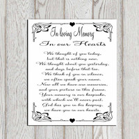 In loving memory printable Memorial table Wedding memorial sign Memorial quotes Memorial poem  In our hearts Reception sign INSTANT DOWNLOAD