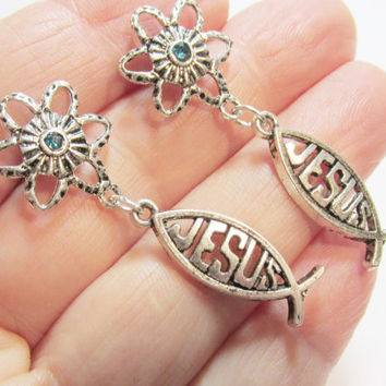 Christian Fish Earrings, Antique Silver Colored Jesus Fish Charms, Religious Jewelry. Fish Shape, Gift Jewelry, Flower Crystal Post Earrings