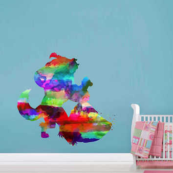 kcik2165 Full Color Wall decal Watercolor Character Disney Belle Beauty and the Beast children's room Sticker Disney