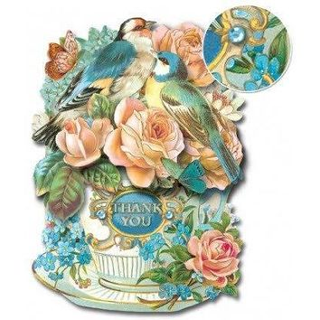 Birds in Teacups Dimensional Thank You Greeting Card