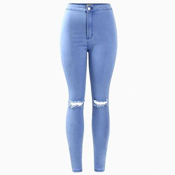 High Waist Stretch Ripped Knee Skinny Jeans