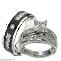 His & Hers Wedding Ring Set 925 Sterling Silver & Titantium Wedding Rings